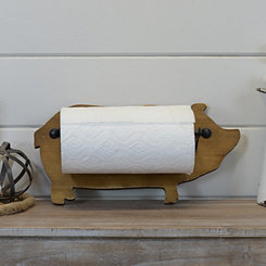 Wooden Pig Paper Towel Holder