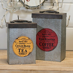 Metal Coffee and Tea Canisters, Set of 2
