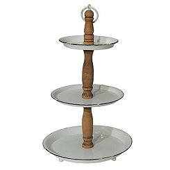 3-Tier Gray Metal and Wood Stand