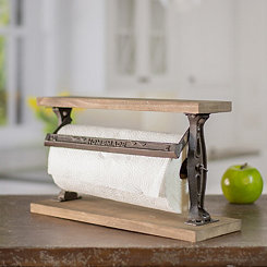 Homemade Wood and Metal Paper Towel Holder