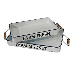 Farm Fresh Market White Trays, Set of 2
