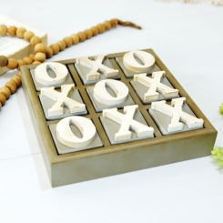 Wood Block Tic Tac Toe Game Board