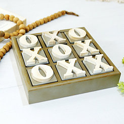 Wood Block Tic Tac Toe Game Board
