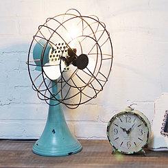 Light Blue Fan Triple Metal Table Lamp