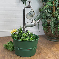 Metal Watering Scoops Fountain with Green Basin
