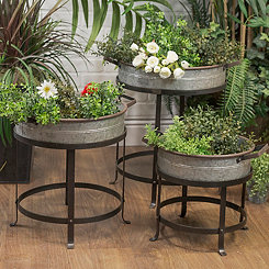Galvanized Metal Planters with Stands, Set of 3