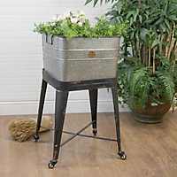Galvanized Vintage Tub on Rolling Stand