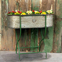 Tin Oval Planter with Green Metal Stand