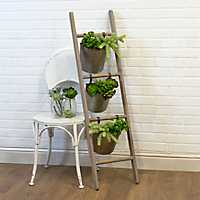 Wood Ladder with Hanging Weathered Metal Planters