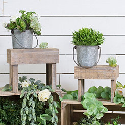 Rustic Wooden Stool Plant Stands, Set of 2
