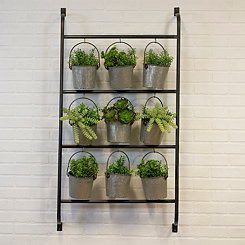 Metal Wall Planter with Hanging Galvanized Buckets