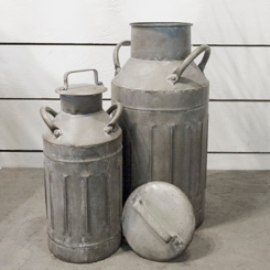 Worn Patina Metal Canisters, Set of 2