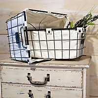 Metal Laundry Baskets with Fabric Liners, Set of 2