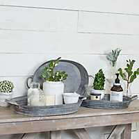 Rustic Metal Trays with Handles, Set of 3