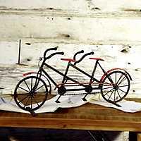 Metal Black and Red Tandem Bike Statue