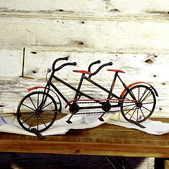 Metal Black and Red Tandem Bike Statue