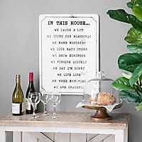 Black and White In This House Tin Plaque