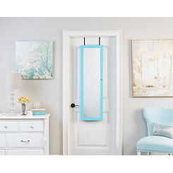 Wall Mounted or Over Door Turquoise Mirror Armoire