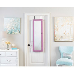 Wall Mounted or Over Door Purple Mirror Armoire