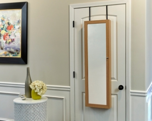 Wall Mounted or Over the Door Tan Mirror Armoire