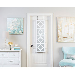 Quatrefoil White Wall or Door Mirror Armoire