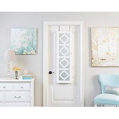 Quatrefoil White Wall or Door Mirror Armoire