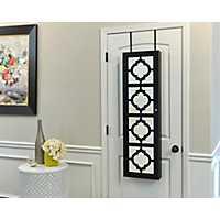 Quatrefoil Black Wall or Door Mirror Armoire