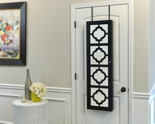 Quatrefoil Black Wall or Door Mirror Armoire