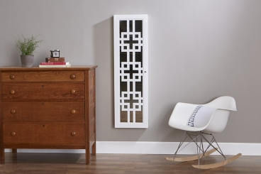 Modern White Wall or Door Mirror Armoire