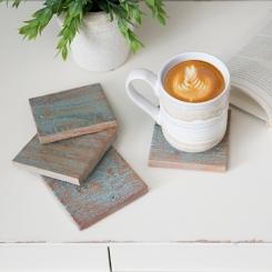 Light Blue Washed Wood Coasters, Set of 4