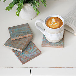 Light Blue Washed Wood Coasters, Set of 4