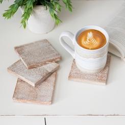White Washed Wood Coasters, Set of 4