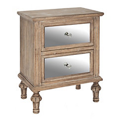 Natural Mirrored Accent Table