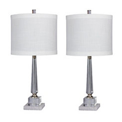 Tapered Crystal Column Table Lamps, Set of 2