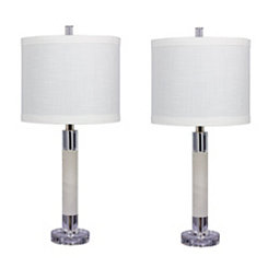 Smooth Marble Column Table Lamps, Set of 2