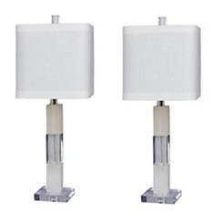 Crystal and Marble Block Table Lamps, Set of 2