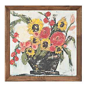 Sunny Bouquet in Vase Framed Art Print