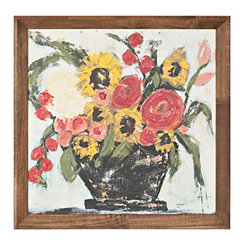 Sunny Bouquet in Vase Framed Art Print