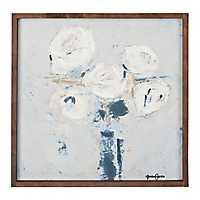 White Bouquet in Vase Framed Art Print