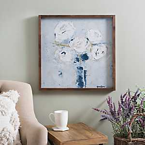 White Bouquet in Vase Framed Art Print