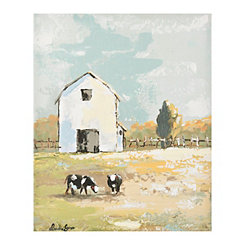 Two Cows and a Barn Canvas Art Print