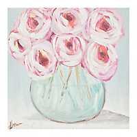 Pink Roses in Vase Canvas Art Print