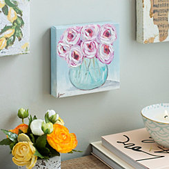 Pink Roses in Vase Canvas Art Print