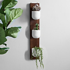Wood Plank and Ceramic Vase Wall Planter