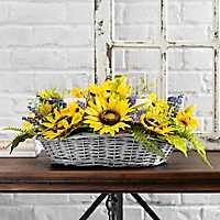 Sunflower Basket Candle Centerpiece