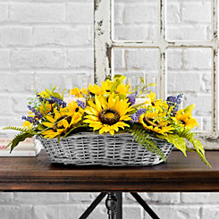 Sunflower Basket Candle Centerpiece