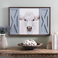White Cow with Barn Doors Framed Art Print
