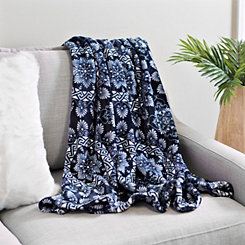 Navy Medallion Plush Throw
