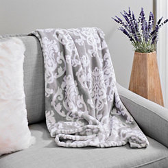 Gray and White Damask Plush Throw