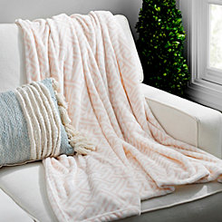 Blush Greek Key Plush Throw